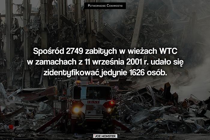 Spośród 2749 zabitych w wieżach WTC w zamachach z 11 września 2001 r. udało się zidentyfikować jedynie 1626 osób.