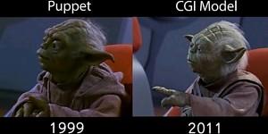 Porównanie oryginalnego Yody z cyfrowym modelem