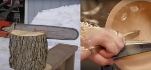 Popisowe wykonanie miski z kawałka drewna
