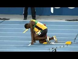 Usain Bolt w biegu na 200 metrów
