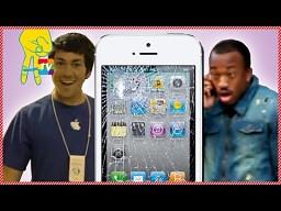 Żart z rozbitymi iPhonami