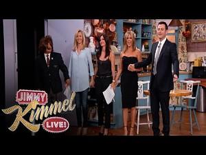 """Jennifer Aniston, Courteney Cox, Lisa Kudrow i Jimmy Kimmel w """"Przyjaciołach"""""""