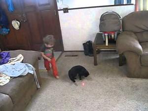 Dzieciak i futrzak w pogoni za kropkiem