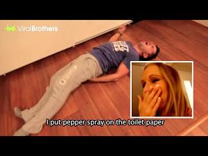 Prankster ukarany: jego dziewczyna popsikała papier toaletowy gazem pieprzowym