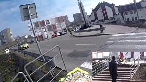 Idiota przejechał motocyklem galerię handlową