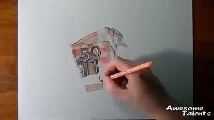 Superrealistyczne rysowanie 50 euro