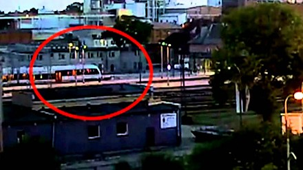 Uderzenie pociągu w koniec peronu - Malbork