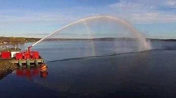 Test potężnej armatki wodnej