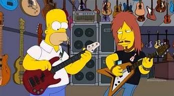 Homer Simpson gra na basie