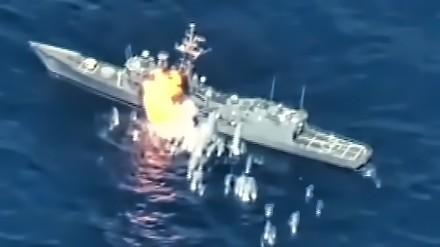 Rakiety i torpedy zatopiły fregatę typu Oliver Hazard Perry