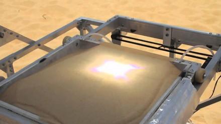 Drukowanie obiektu 3D z piasku na drukarce działającej na słońce