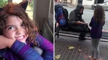 Dziewczynka oddaje swój obiad bezdomnemu