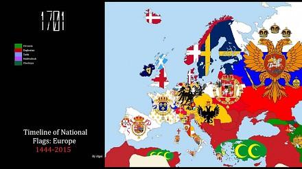 Jak zmieniały się flagi państw w Europie (1444-2015)