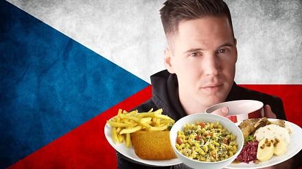 Testowanie czeskiego jedzenia przez Amerykanina