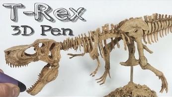 Realistyczny szkielet T-Rexa wykonany długopisem 3D