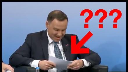 """Prezydent Duda """"czyta"""" z kartki po angielsku"""