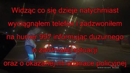Kozak z odznaką policyjną z Allegro w Warszawie