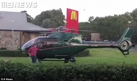 Głodny pilot helikoptera wylądował pod McDonald's, żeby odebrać swoje zamówienie