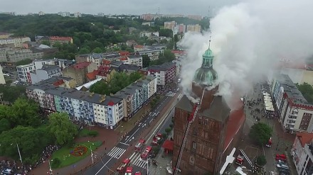 Pożar Katedry w Gorzowie Wielkopolskim widziany z drona