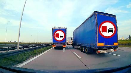 Ciężarówka na A4 wyprzedza ciężarówki i blokuje karetkę na sygnale, która wiozła krew dla noworodka