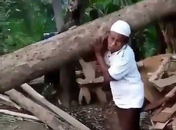 Niesamowity dziadek dźwiga wielkie kłody