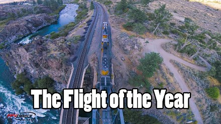 Mistrzowski przelot dronem wokół pociągu