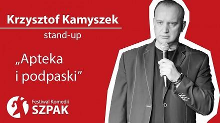 Krzysztof Kamyszek w stand-upie o aptece i podpaskach