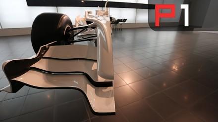 Bolid Formuły 1 przecięty na pół