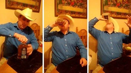 Teksańczyk wypija całą butelkę whiskey w 30 sekund