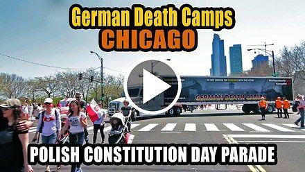 """Ciężarówka """"German Death Camps"""" na paradzie konstytucji 3 maja w Chicago"""