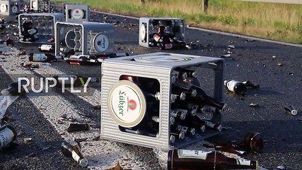 3000 litrów piwa wylało się na autostradę
