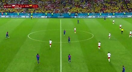 """Niesamowity """"pressing"""" naszych piłkarzy po stracie bramki z Kolumbią"""