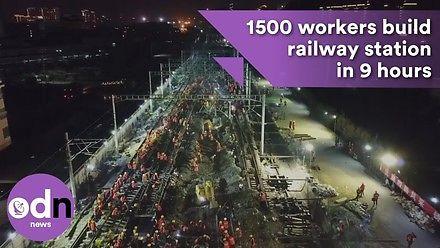 Stacja kolejowa w Chinach zbudowana w 9 godzin przez 1500 pracownikow