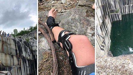 Gość o polsko brzmiącym nazwisku skoczył z klifu i o mało nie stracił nogi