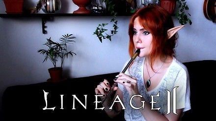 Fajna pani coveruje muzykę w jednym z miast Lineage II