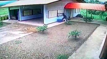 Włamywacz idiota wchodzi do garażu