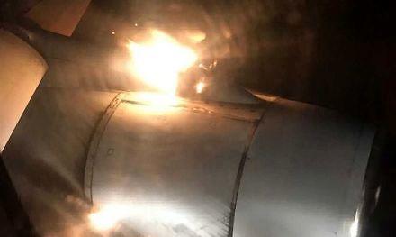 Płonący silnik w rosyjskim Tu-204 sfilmowany przez pasażera