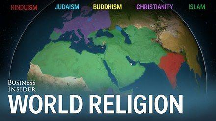 Animacja przedstawiająca, jak różne religie rozprzestrzeniały się po świecie