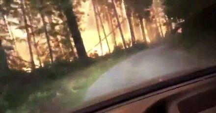 Ucieczka ojca z synem przez płonący las w Montanie