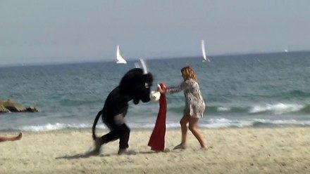 Remi jako plażowy byk i ludzie jako torreadorzy