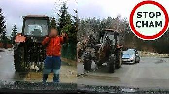 Wymuszenie przez pijanego traktorzystę i spotkanie z policją