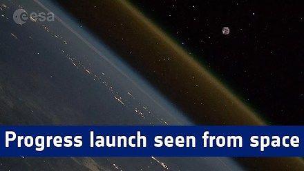 Start rakiety Sojuz widziany z Międzynarodowej Stacji Kosmicznej