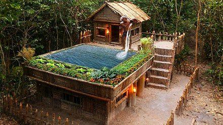 Budowa leśnej chaty z ogrodem i basenem