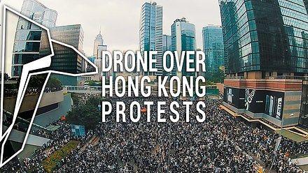 Protesty w Hong Kongu z drona