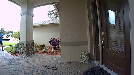 Kurier kontra wąż pod drzwiami