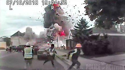 Wybuch gazu uchwycony przez kamery policyjne