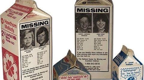 Zaginione dzieci na kartonach mleka