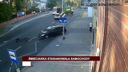 Śmieciarka bez kierowcy staranowała samochody w Gorzowie