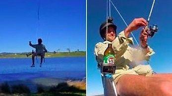 Australijczyk wędkował podczepiony do drona