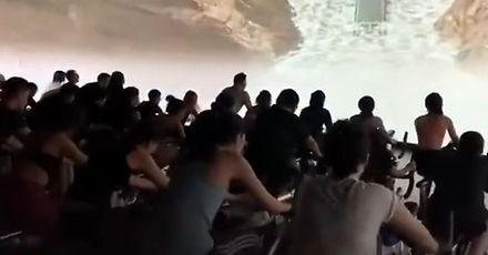 Specjalna animacja na ekranie w klubie fitness